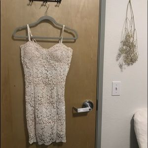 White lace lined dress
